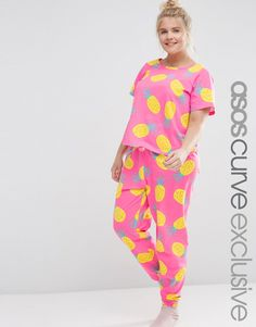 3877b2598d ASOS CURVE Pineapple Print Tee   Legging Pyjama Set at asos.com