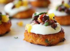 lisa is cooking: Sweet Potato Cakes with Sour Cream and Chipotle Black Bean Salsa