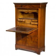 This elegant secretary cabinet is just the right size and the bookmatched walnut is very striking.