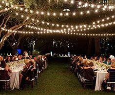Elegant and romantic summer night backyard wedding decoration idea using beautiful outdoor wedding string lights String Lights Outdoor, Outdoor Lighting, Wedding Lighting, String Lighting, Cafe Lighting, Lighting Ideas, Party Lighting, Light String, Backyard Lighting