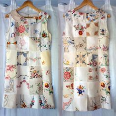 Beautiful embroidered linen dess made from recycled doilleys and fully lined