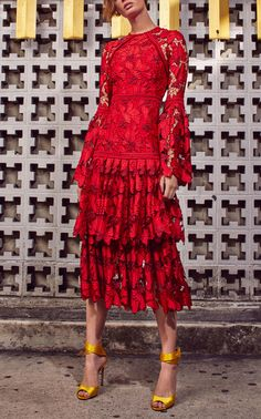 Defina Lace Tiered Dress by Alexis Fall Winter 2018 Estilo Fashion, Red Fashion, Runway Fashion, Fashion Dresses, Lace Dress, Dress Up, Inspiration Mode, Tiered Dress, Lovely Dresses