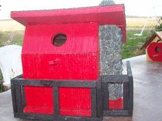"""BAMA"" birdhouses red black stone shingles pine handcrafted bird accessories grey wood BH5"