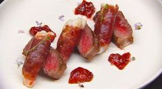 Surf and Turf – Wagyu with prosciutto wrapped scampi and chilli fig jam | MasterChef Australia