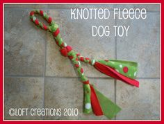 DIY knotted fleece dog toy