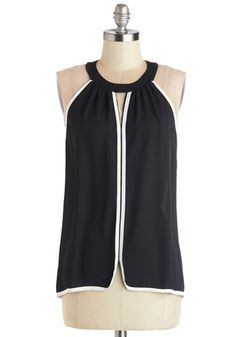 Chic for Yourself Top - Sheer, Mid-length, Black, Solid, Black, Sleeveless, White, Cutout, Trim, Sleeveless, Girls Night Out