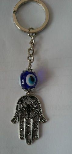 Key Holder Keychain Hamsa Hand Good Luck Blue Bead Evil Eye Protection Amulet