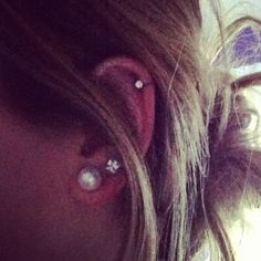Once my cartilage piercing heals up I'm getting a second lobe piercing! Then my ears will look like this!