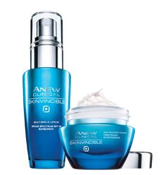 Avon: ANEW CLINICAL SKINVINCIBLE Protect & Repair Duo. Protect. Repair. The #1 cause of visible aging is environmental aggressors, which can lead to wrinkles, sun spots and dryness. Now you can protect skin against environmental assaults. Repair the look of age damage. Both for $59.99.Shop:www.youravon.com/arllahollins