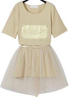 Champagne Short Sleeve Letters Print Top With Sheer Skirt 30.00