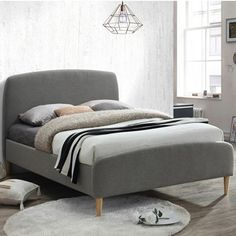 Serenely designed with a focus on the beauty of simplicity, the Quebec Grey Fabric Bed serves splendidly as an enchanting bedframe for both pure functionality and pristine form. Undeniably adaptable, the Quebec Grey Fabric Bed can comfortably accommoda Small Double Bed Frames, Double Beds, 4ft Beds, Grey Upholstered Bed, Beds For Small Rooms, Grey Bedding, Bed Sizes, Grey Fabric, Bedroom Furniture