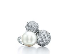 Cultured South Sea pearl and diamond ring from the Tiffany & Co. 2015 Blue Book collection.