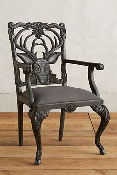 Handcarved Menagerie Deer Armchair #anthropologie / $998 per chair -- I'm obsessed with this set!