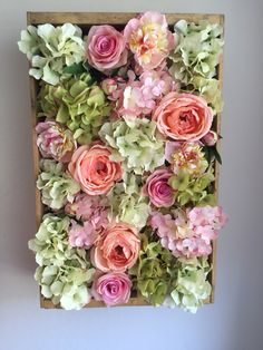 Reclaimed wooden box turned into beautiful floral wall hanging decor. Made by Mommy and her little Princess