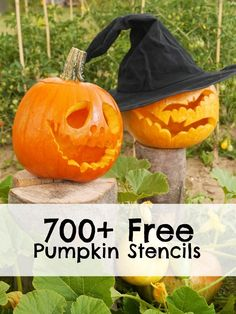 700 Free Halloween Pumpkin Carving Stencils + what to do with the insides #crafts #recipes #diy