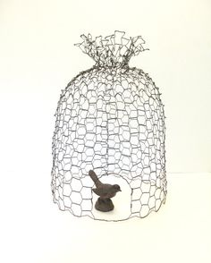 Rusty Patina Wire Bee Skep Cloche by SassytrashAntiques Chicken Wire Art, Chicken Wire Sculpture, Chicken Wire Crafts, I Love Bees, Bee Skep, Outdoor Crafts, Bee Theme, Bird Cages, Bee Happy