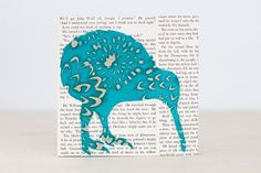 """Teal Kiwi Bird Over Vintage Book Pages, Bird Art, Exotic Animal Art, Tuquoise Kiwi Over Vintage Text,Original Collage on a 6""""x6"""" Birch Panel"""