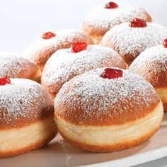 Baked Soufganiyot–Low Fat Israeli Hanukkah Jelly Doughnuts This recipe serves: 24 1 package dry yeast scant tablespoon) 3 tablespoons sugar ¼ cup lukewarm water 3 ½ cups unbleached all-purpose. Hanukkah Dessert Recipes, Healthy Hanukkah Recipes, Hanukkah Food, Jewish Recipes, Fun Desserts, Holiday Recipes, Delicious Desserts, Yummy Food, Hannukah