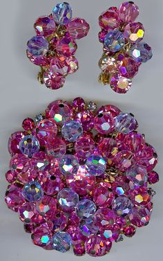 JULIANA Vintage WOW DAZZLING Pink Lavender Crystal Rhinestone Pin & Earrings SET