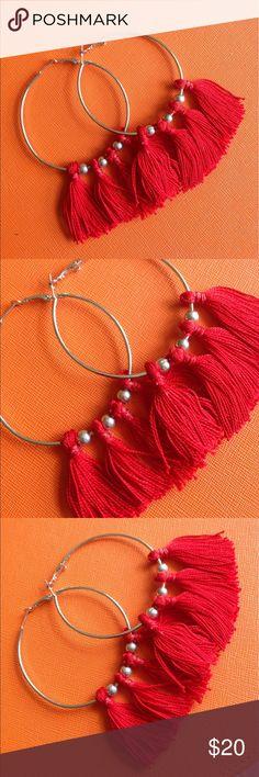 Red tassel hoop earrings Beautiful tassel hoop earrings in red brand new Jewelry Earrings