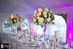 white hydrangea arrangement, purple rose arrangement, crystal wedding, silver wedding decor, sagamore wedding #purpleroses #fleurtaciousdesigns -Elario Photography