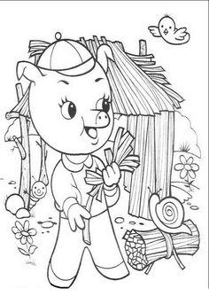 Die drei kleinen Schweinchen Ausmalbilder. Malvorlagen Zeichnung druckbare nº 2