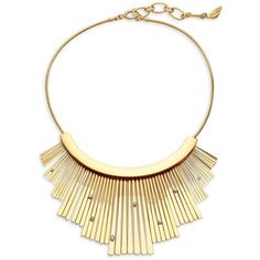Diane von Furstenberg Embellished Fan Statement Necklace (€91) ❤ liked on Polyvore featuring jewelry, necklaces, diane von furstenberg necklace, stacked necklaces, gold tone necklace, gold tone jewelry and chunky jewellery