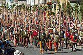Mercenaries with lances, wedding procession of the 'Landshut Wedding', historic center, Landshut, Lower Bavaria, - Stock Photo