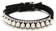 BINGPET BA2014 Adjustable Trendy No Stink Sparkly Dog Collar With Pearl,Black XS >>> For more information, visit image link.