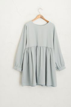 Wide Neck Dress Sky Blue 100% Cotton.