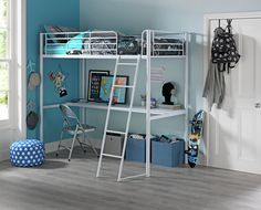 Buy Argos Home Riley White High Sleeper Bed Frame with Desk at Argos. Thousands of products for same day delivery or fast store collection. White Toddler Bed, White Kids Bed, White Single Bed Frame, Single Size Bed, White Mid Sleeper, High Sleeper Bed, Boys Cabin Bed, Kids Mattress, Bunk Bed With Desk