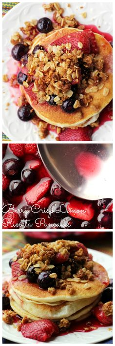 Why wait for dessert to have your favorite fruit crisp? These berry crisp lemon ricotta pancakes let you kick off your day with this sweet treat.