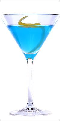 The Bikini Martini    The name--not to mention the vivid blue color--makes this a summer cocktail winner. It tastes delicious too.    The Goods:    3 ounces Bombay Sapphire gin  squeeze of fresh lime juice  2 tbsp Blue Curacoa  1 tbsp peach schnapps  1 tsp confectioners' sugar or one packet of Equal  lemon zest    Fill a martini glass with ice and water to chill it. Half-fill a martini shaker with ice and add the gin, lime juice, Curacao, schnapps and sugar. Shake well for at least 30 seconds.