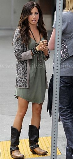 Ashley Tisdale Style and Fashion - Free People 'Kitty Cat' Cardigan - Celebrity Style Guide
