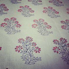 Khilana pattern by Virginia Kraft; hand-blocked fabrics on 100% linen; available spring 2014