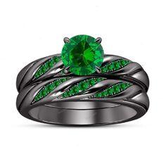 14K Black Gold Finish Green Sapphire in 925 Silver Women's Bridal Ring Set 5-12…