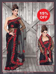 The black net sari will surely make you look gorgeous on any occasion. The border is embroidered in a Parsi style floral design making it perfect for all occasions. The whole sari has floral motifs appliquéd to it.