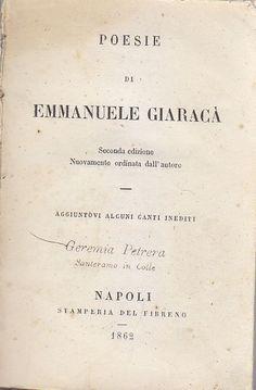 POESIE DI EMMANUELE GIARACÀ - (Siracusa) - 1862 Stamperia del Fibreno