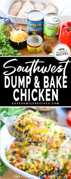 Baked Southwest Chicken Casserole · Easy Family Recipes One dish easy southwest chicken bake. Chicken Breast Recipes Dinners, Recipes Using Rotisserie Chicken, Easy Chicken Dinner Recipes, Healthy Crockpot Recipes, Slow Cooker Recipes, Cooking Recipes, Roast Recipes, Ham Recipes, Bread Recipes