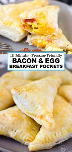 Bacon and Egg Breakfast Pockets Made with Puff Pastry Dough. These Breakfast Pockets are great to make ahead and can be frozen. Kids love them! A complete breakfast inside a tidy pocket of dough. Breakfast Puff Pastry, Frozen Breakfast, Breakfast Pockets, Puff Pastry Dough, Frozen Puff Pastry, Freezer Meals, Freezer Chicken, Freezer Recipes, Freezer Cooking