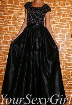 Black Satin Maxi skirt Satin skirt Satin Maxi Skirt Fall Skirt Holiday Skirt…