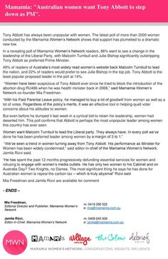 Media release: Women resoundingly want Liberal Party to dump Tony Abbott as PM. http://bit.ly/1M16Op7  #auspol