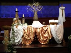 Christ the Lord has risen today alleluia! Easter Altar Decorations, Christmas Decorations, Table Decorations, Altar Design, Stage Set Design, Church Stage, Draped Fabric, Epiphany, Maundy Thursday