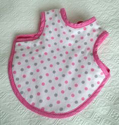 Pink and Gray Polka Dot Baby Bapron Bib backed with pink terry cloth