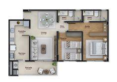 2 dormitórios - 1 vaga garagem - 75 m²