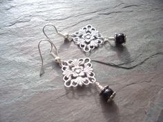 Antique Silver Earrings / Floral / Square / Scalloped / by FOLIOSA, $14.00