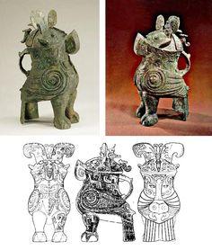 vase Zun zoomorphe (chouette) en bronze provenant de la tombe de la dame Fu Hao