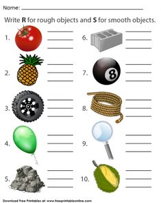 Rough and Smooth Objects - Kids Worksheets