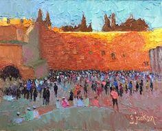 """To Shabbat,"" The Wailing Wall, Jerusalem, 8 x 10 inches, Oil.  Artist, Guy Jackson.  www.guyjacksonart.com Impressionist Art, Jerusalem, Art Oil, Jackson, Guy, Contemporary, Wall, Artist, Painting"