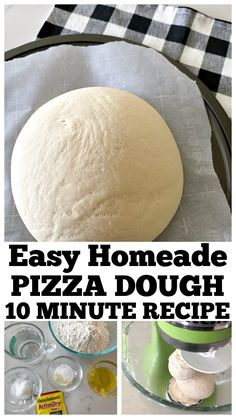 Easy Homemade Pizza Dough Recipe – The Best Pizza Dough! This Easy Homemade Pizza Dough Recipe is made in 10 min! All you need is a few simple ingredients and stand mixer. The best pizza dough recipe ever! Homeade Pizza Dough, Best Pizza Dough Recipe, Best Homemade Pizza, Easy Pizza Dough, Fast Dough Recipe, Homemade Recipe, Quick Pizza, 10 Minute Pizza Dough Recipe, Pizza Dough Recipes